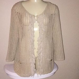 Chico's knit cardigan with fringe